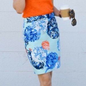 J. Crew Green Floral Lined Pencil Skirt 4
